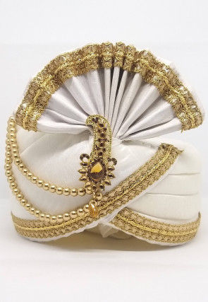 Embellished Dupion Silk Turban in Off White