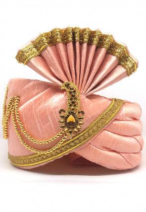 Embellished Dupion Silk Turban in Peach