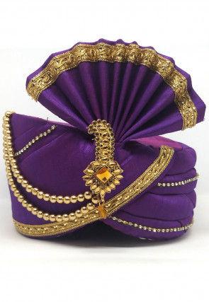 Embellished Dupion Silk Turban in Purple