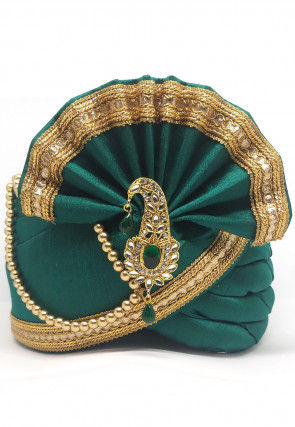 Embellished Dupion Silk Turban in Teal Green