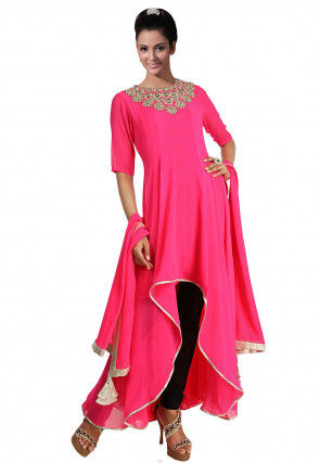Embellished Georgette Asymmetric A Line Suit in Fuchsia