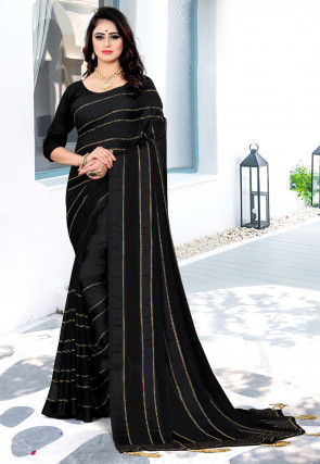 Embellished Georgette Brasso Saree in Black