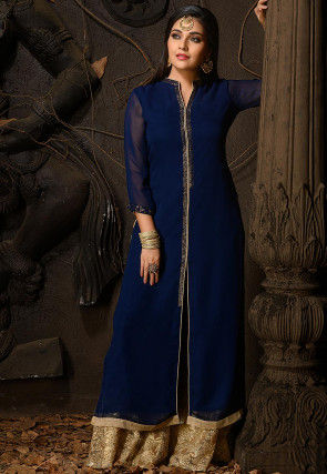 Embellished Georgette Front Slitted Straight Kurta in Navy Blue