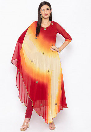 Embellished Georgette Kaftan Style Kurta Set in Red and Cream