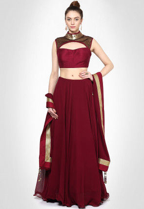 Embellished Georgette Lehenga in Maroon