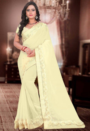 Embellished Georgette Saree in Cream