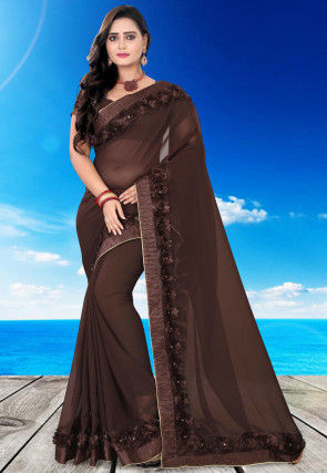 Embellished Georgette Saree in Dark Brown