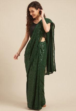 Embellished Georgette Saree in Dark Green