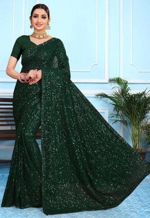 Embellished Georgette Saree in Dark Green