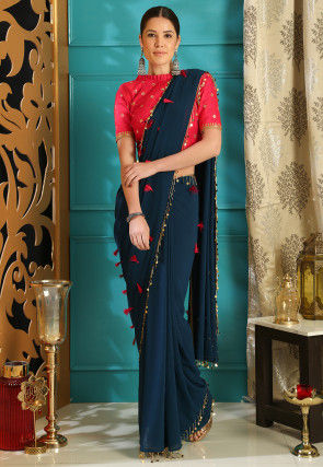 Embellished Georgette Saree in Dark Teal Blue