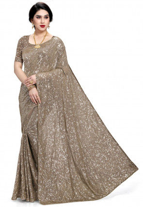 Embellished Georgette Saree in Fawn