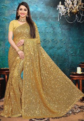 Embellished Georgette Saree in Golden