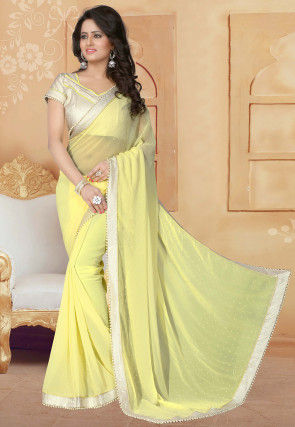 Embellished Georgette Saree in Light Yellow