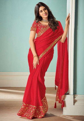 Embellished Satin Saree in Red