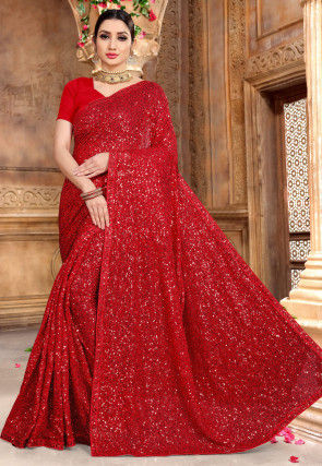 Embellished Georgette Saree in Red