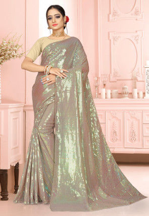 Embellished Georgette Saree in Silver