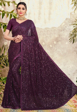 Embellished Georgette Saree in Wine