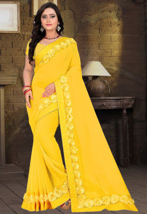 Embellished Georgette Saree in Yellow
