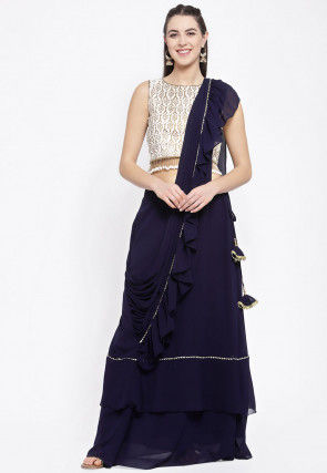 Embellished Georgette Skirt with Attached Dupatta in Navy Blue
