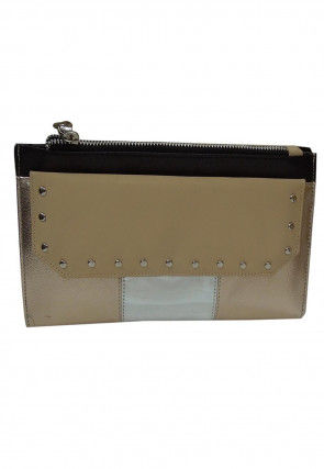 Embellished Leather Wallet in Light Beige