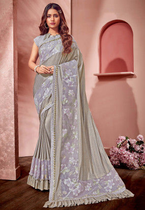 Embellished Lycra and Net Saree in Light Grey