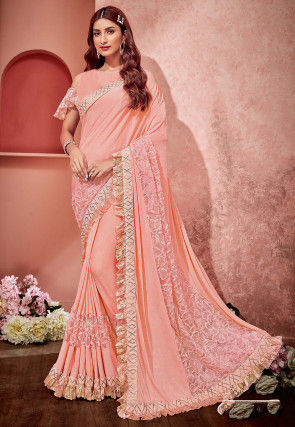 Embellished Lycra and Net Saree in Peach