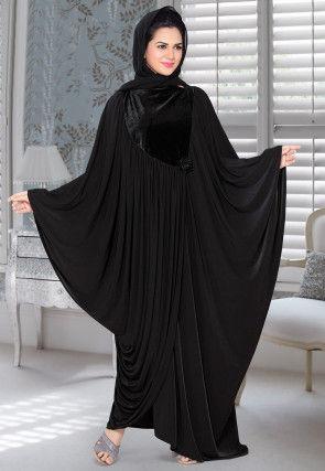 Embellished Lycra Black Abaya