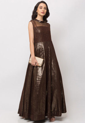 Embellished Lycra Gown in Brown