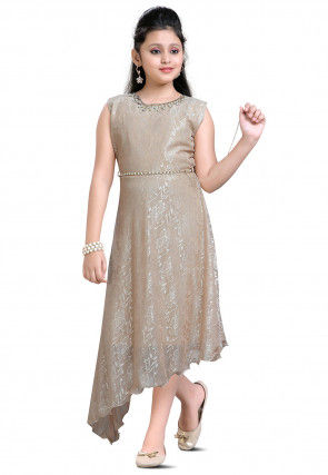 Embellished Lycra Net Jacquard Asymmetric Dress in Beige