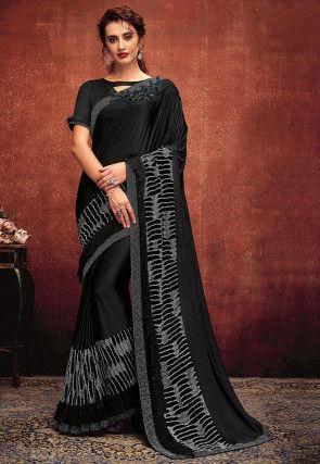 Embellished Lycra Saree in Black