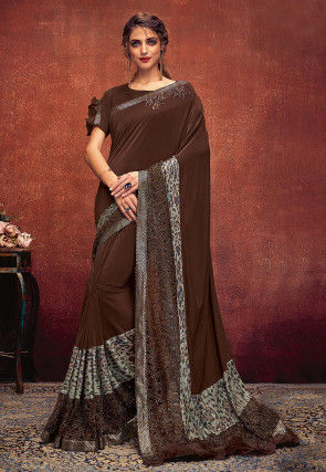 Embellished Lycra Saree in Brown