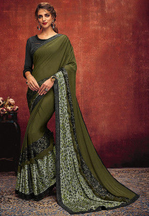 Embellished Lycra Saree in Dark Olive Green
