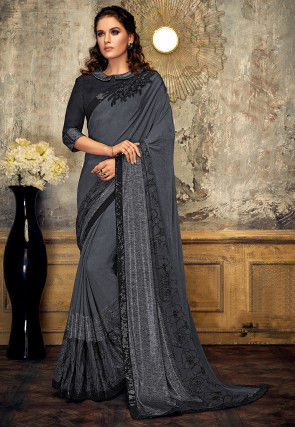 Embellished Lycra Saree in Grey