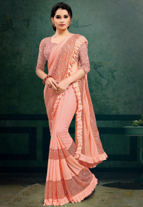 Embellished Lycra Saree in Peach