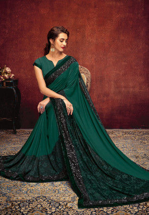 Embellished Lycra Saree in Teal Green