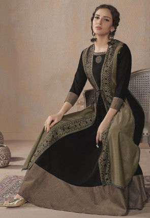 Embellished Neckline Rayon Jacket Style Gown in Black and Beige