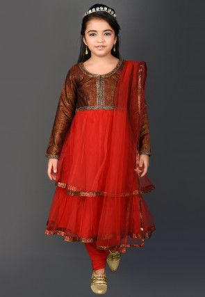Embellished Net Anarkali Suit in Red