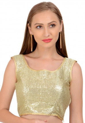 Embellished Net Blouse in Golden