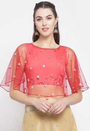 Embellished Net Cape Style Crop Top in Coral Pink