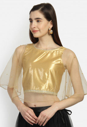 Embellished Net Cape Style Crop Top in Golden