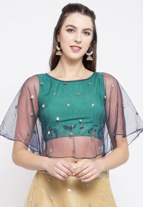 Embellished Net Cape Style Crop Top in Teal Green and Blue