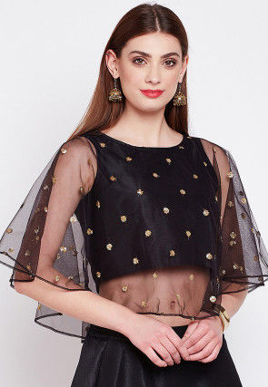 Embellished Net Cape Style Top in Black