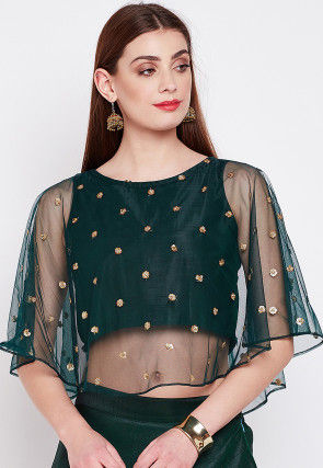 Embellished Net Cape Style Top in Dark Teal Green