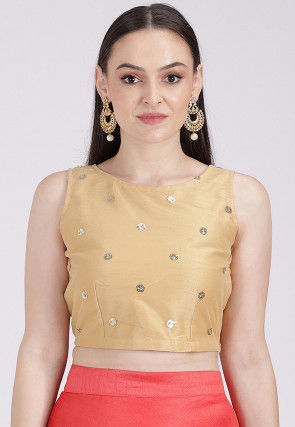 Embellished Net Crop Top in Beige