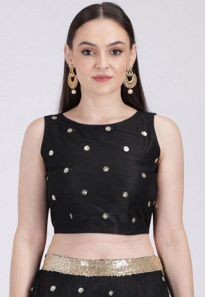 Embellished Net Crop Top in Black