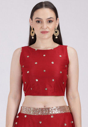 Embellished Net Crop Top in Maroon
