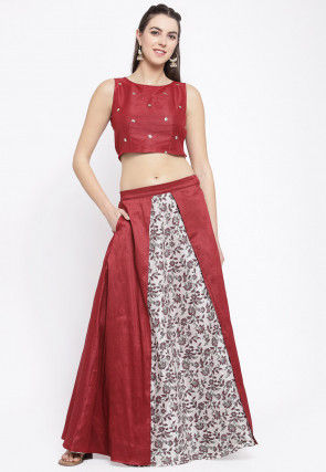 Embellished Net Crop Top Set in Maroon