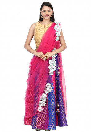 Embellished Net Dupatta in Fuchsia