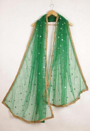 Embellished Net Dupatta in Green