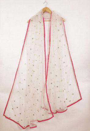 Embellished Net Dupatta in White